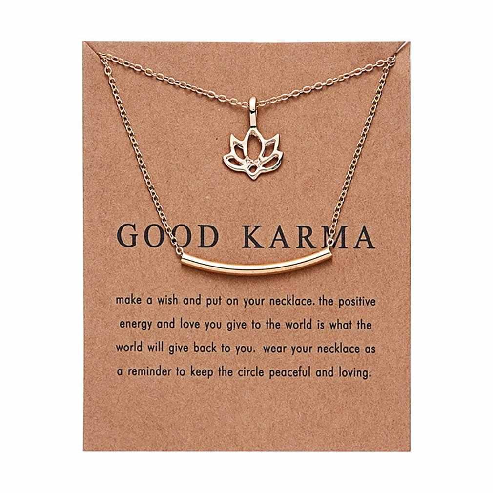 Moda Bom Karma Feliz Gargantilha Colar Dupla Camada de Lótus Colar de Pingente de Mulheres Jóias para o Desgaste Diário