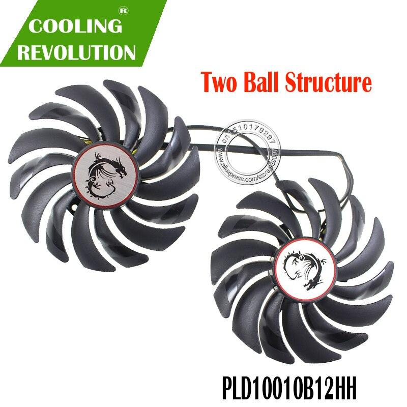 Ventilador cooler 2 pçs/lote, ventilador resfriador de placa de vídeo para radeon rx 480 msi rx 580 asic bitcoin mine gpu placa gráfica de resfriamento