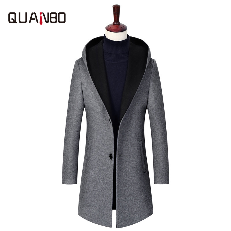 QUANBO Wool-Coat X-Long Breasted Autumn Winter Casual Fashion Mens Single New Gray Hooded