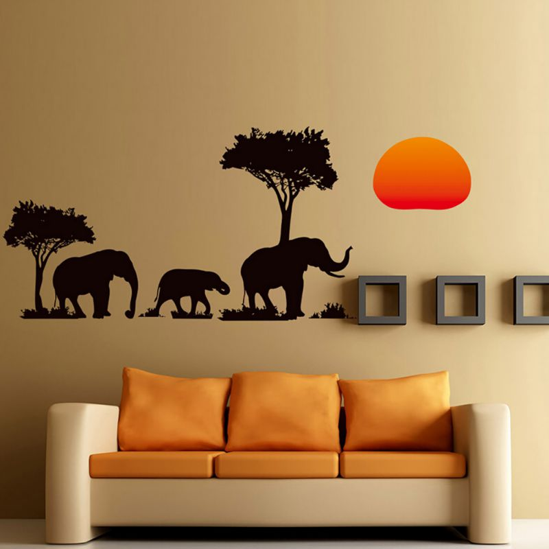 african elephant sunset trees wall sticker art animal decor nursery kindergarten office sofa backdrop decorative decals aa in wall stickers from home - African Decor