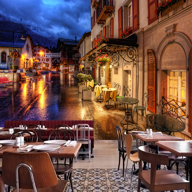 Restaunt: European Town Street Night Landscape Mural Restaurant