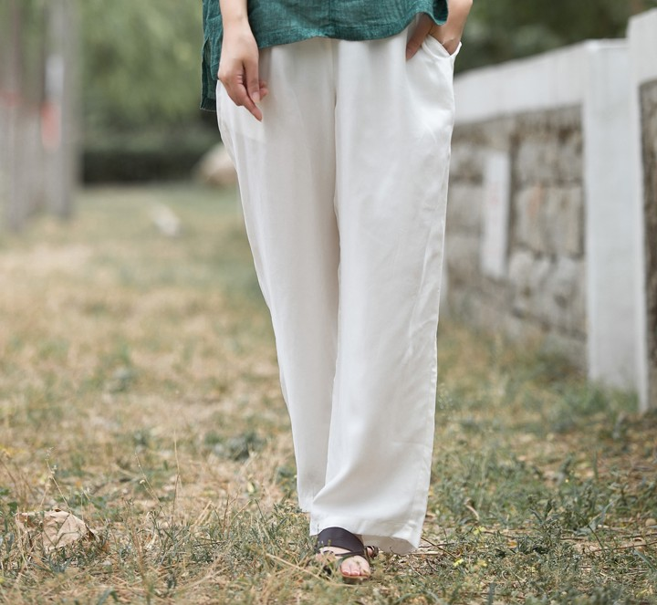 Woman Spring Plus Size Solid High Elastic Waist Loose Full Length 40 Silk Pants Female Summer