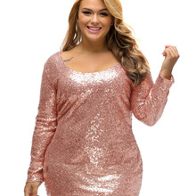 Fashion New Plus Size Sequin Party Dresses 2017spring Champagne Large Size Long Sleeve Dress Night Club Vestido De Festa LC61423