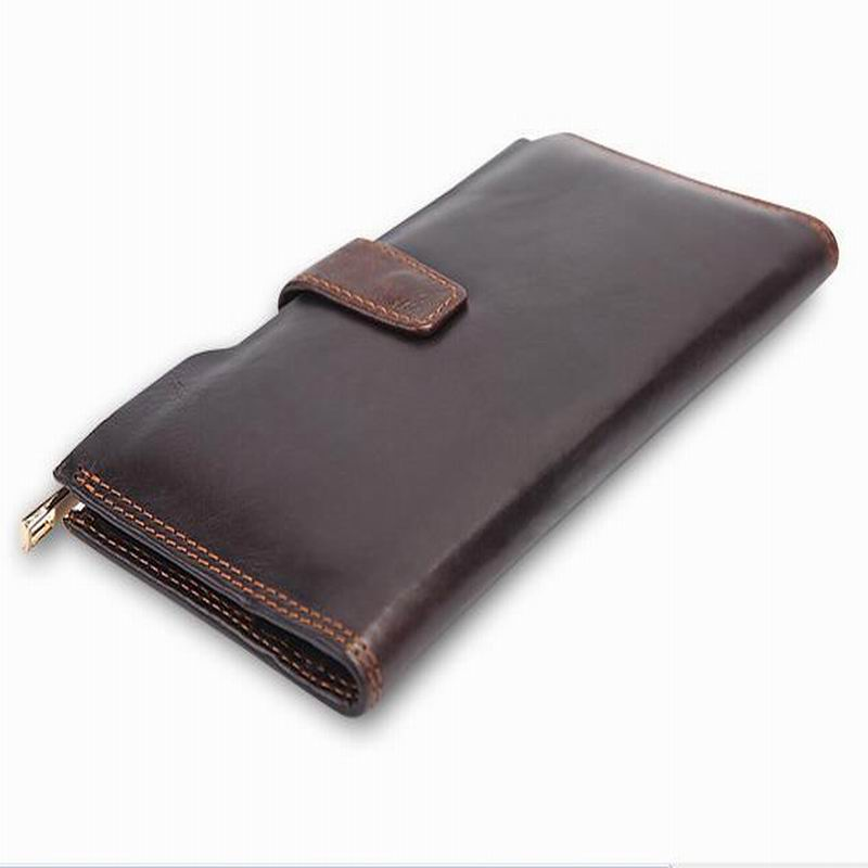 100% Genuine Leather mens wallet first layer mens oil wax leather retro high-capacity multi-card bit long wallet clutch W2016