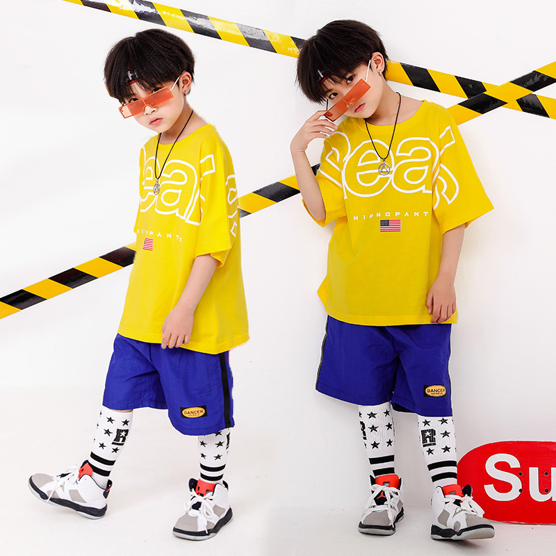 Childrens street dance costumes boys hip hop suits summer girls jazz childrens sportswear