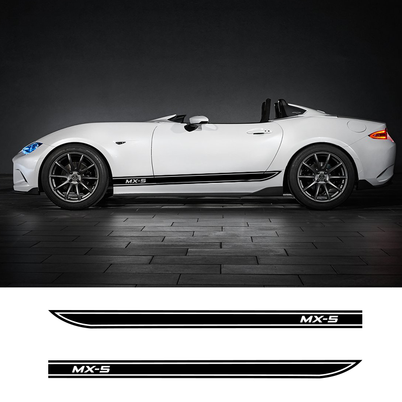 2 PCS Car Styling Door Side Skirt Stripes Auto Body Decals Stickers Customized Racing Sport Vinyl Decal For Mazda MX-5 3 Doors