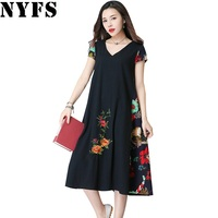 2017 New Summer Dress Casual Large Size Vintage National Wind Embroidery Long Dress Vestidos Robe Elbise