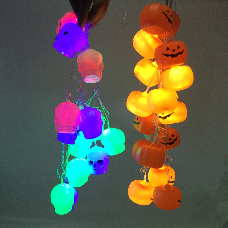 Halloween pumpkin head skull head light string decoration ghost Festival luminous bar strip lights decorative props supplies kerst navidad 2017 halloween haunted house supplies bar ktv decorative props tricky toys luminous spider web 142g