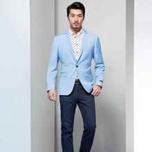 men blazer light blue wedding groomsmen leisure friends party one button lapel custom-make men jacket