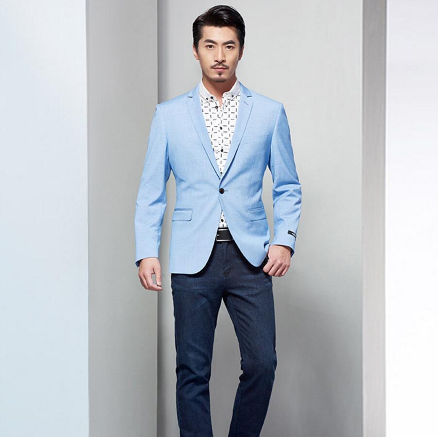 Mens jacket light blue - Men Blazer Light Blue Wedding Groomsmen Leisure Friends Party One Button Lapel Custom Make Men Jacket