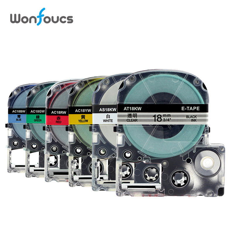 18mm Compatibel Epson Kimji Label Tapes St18kw Ss18kw Sc12rw Sc18yw Sc18gw Sc18bw Voor Labelworks Lw400 6 Pcs Labeller Cartridge Quell Summer Thirst