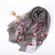 58da7092d968 2017 Nouveau Design De Luxe Marque Femmes Foulard Mode Foulard En Soie  Solide Brodé Écharpe Fleur Châle Élégant Long Wrap Hijab