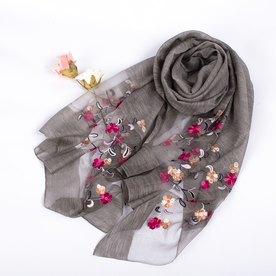 2017 New Design Luxury Brand Women Foulard Fashion Silk Solid   Scarf   Embroidered   Scarf   Flower Elegant Shawl Long   Wrap   Hijab