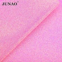 JUNAO SS6 Self Adhesive Pink AB Rhinestone Trim Mesh Fabric Decoration Crystal Ribbon Tape Diamond Strass Applique DIY Crafts