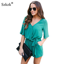 12182f2f889 Szkzk 2019 Summer Women Jumpsuit Short Fashion V-Neck Sashes Womens Casual  Playsuit Dark Blue