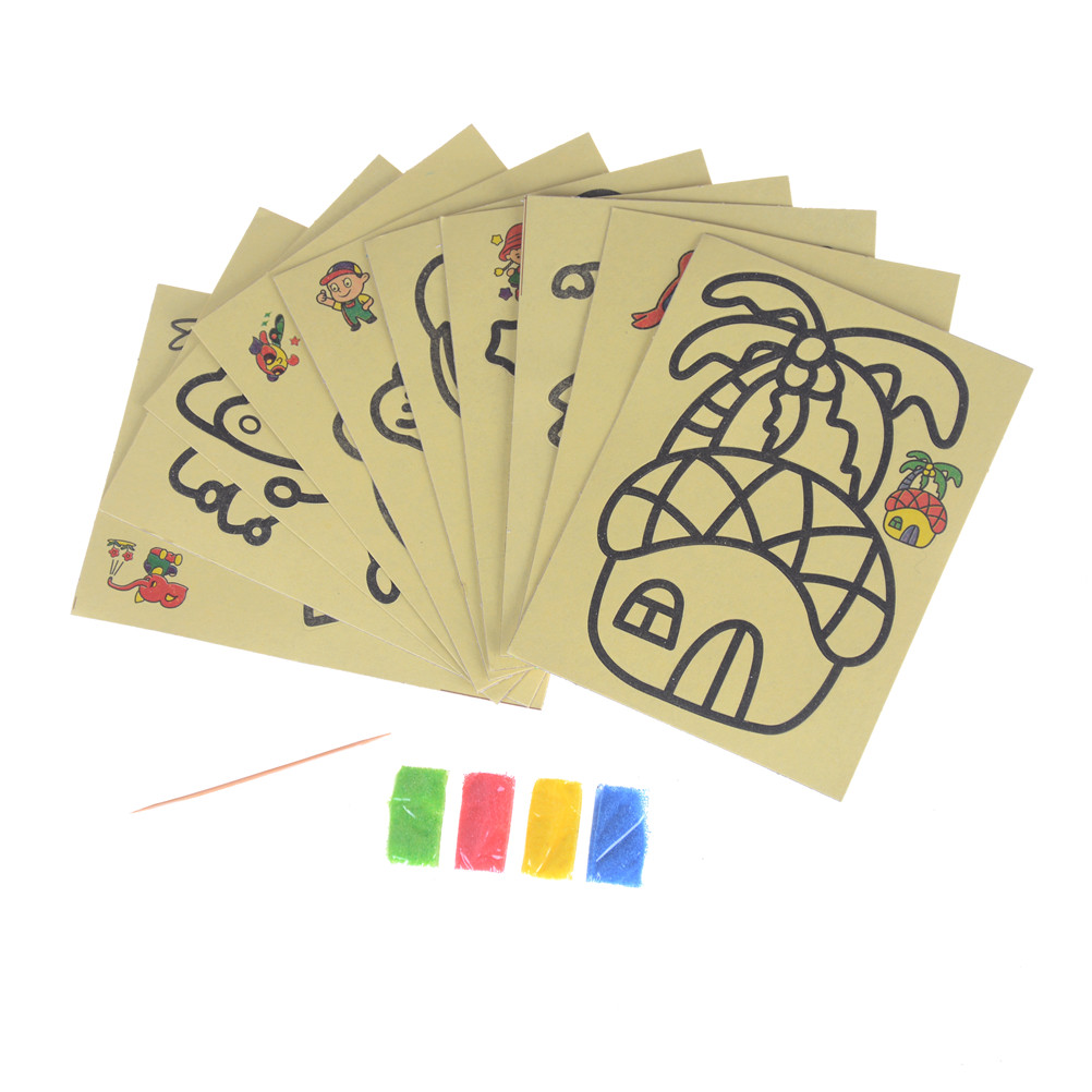10Pcs/lot DIY Children Handmade Picture Paper Craft Drawing Board Sets Bubble Sand Draw Art Kids Sand Painting Toy 9*12cm