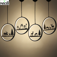 Nordic Aluminum Creative Chandeliers Black White Simple Personality Single Head Restaurant Lights Bar Art Pendent Light
