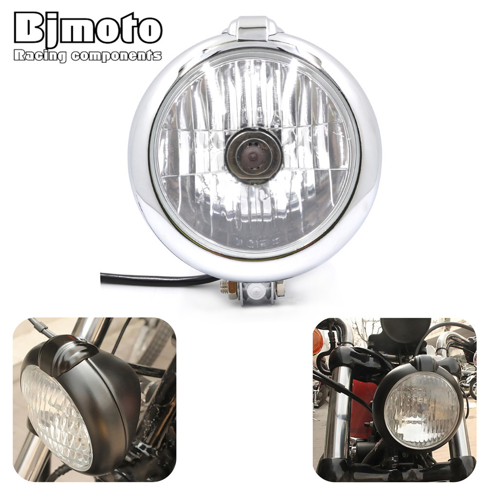 BJMOTO Motorcycle Cafe Racer light Headlight 6.75'' Aluminum Headlamp For Honda Harley Yamaha Kawasaki Chopper Bobber все цены