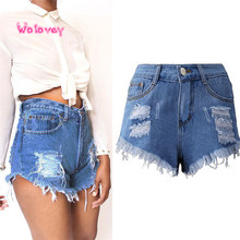 New Style Women Sexy Tassel Hole Shorts Jeans Denim Short Pants Hot Fashion Sexy Personality Wolovey#15