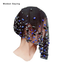 Real 50cm Luxury Black and Blue Diamond Wedding Veil with Crystal 2017 Short Bridal Birdcage Headwear Wedding Accessories H50