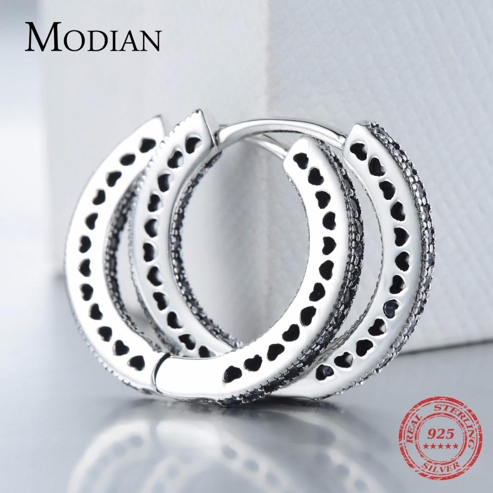 Modian Real 925 Sterling Silver Classic Full Hearts Hoop Earrings Luxury Cubic Zirconia Fashion Jewelry For Women Wedding Gift 4