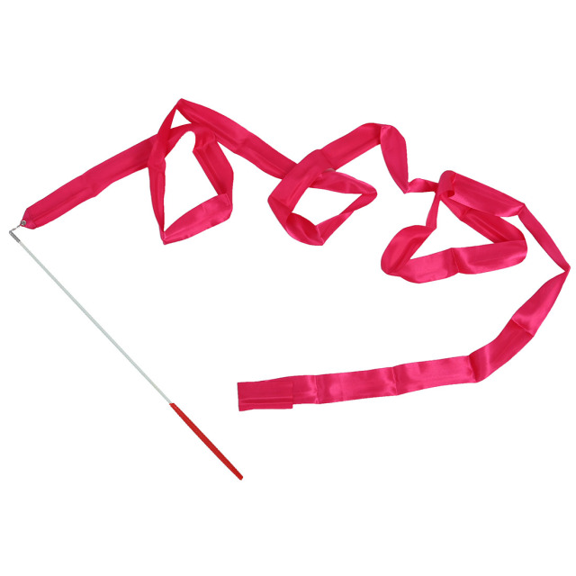 dance ribbon rhythmic gymnastics streamer rod baton twirling party chinese new year red rose