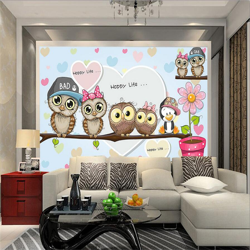3D Living Room Wall Stickers Cute Cartoon Photo Mural Owls Couple Kids Wall Papers Pink Romantic Wall Papers for Children Room