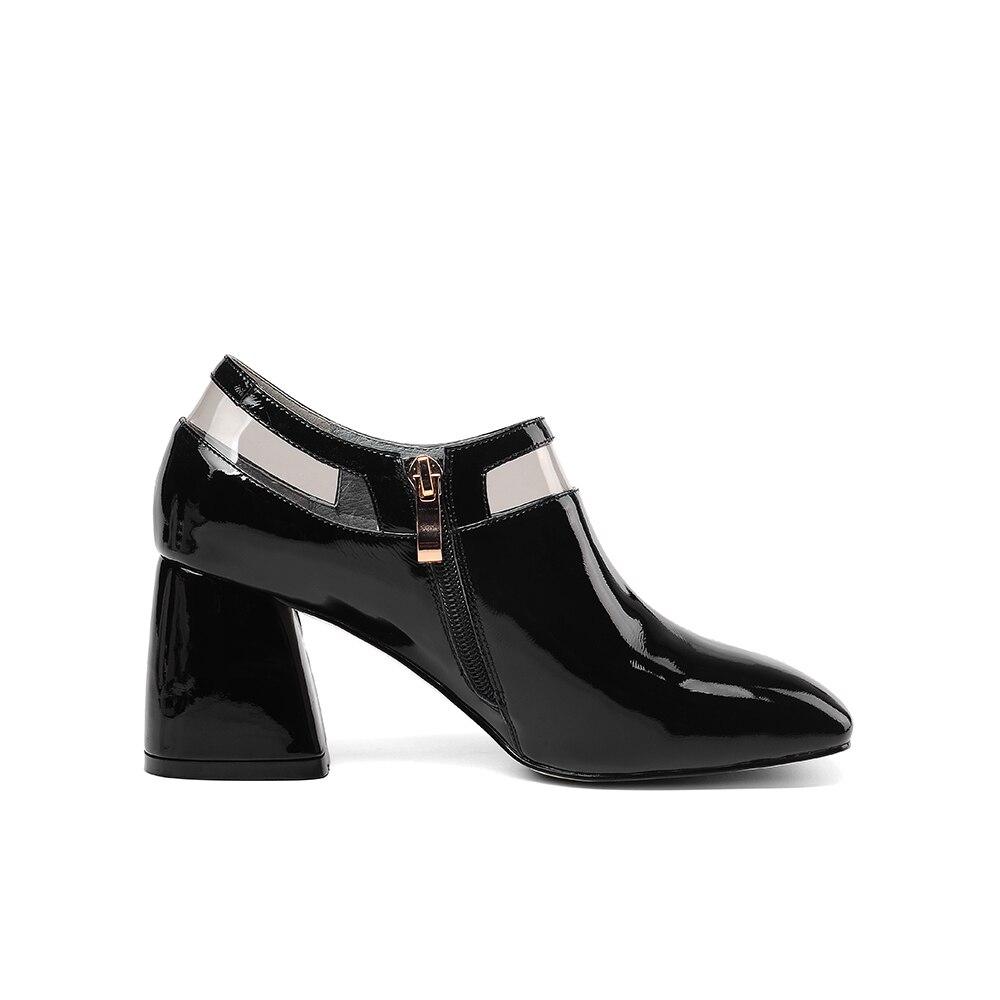 LEEPO Sapatos Feitos de Couro Genuíno das Mulheres do Sexo Feminino Sapatos de Salto Alto Primavera Saltos Sapatas Das Senhoras Do Dedo Do Pé Quadrado Branco com saltos grossos - 5