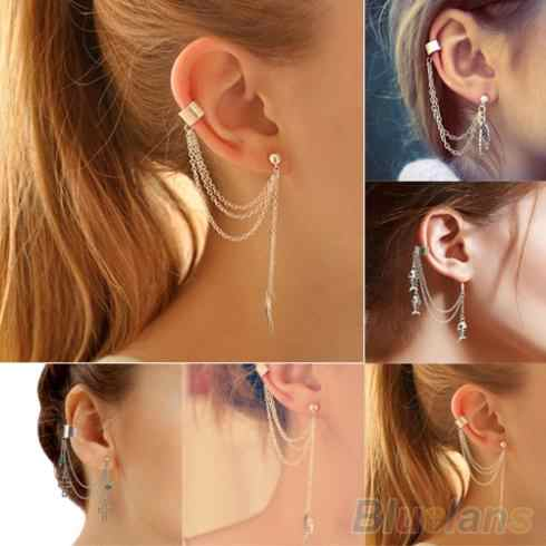 Hot 1PC Punk Tassels Chain Leaf Fish Cross Charms Metallic Ear ear cuff ต่างหู 2KIB 7FGP BD8I