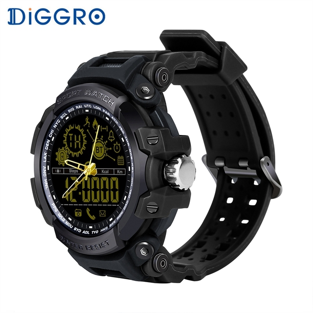 Diggro DI10 Smart Watch Outdoor Sport Waterproof 5ATM Luminous Dial Pedometer Message Reminder Clock Pointerfor Android IOS