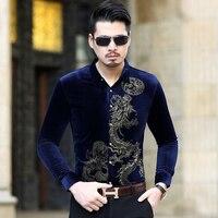 Chinese Style Shirt Men Fashion 2018 Luxury Dragon Print Gold Velvet Chemise Homme Long Sleeve Slim
