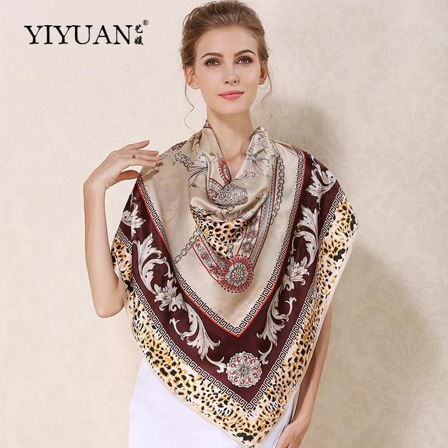 100% Natural Silk Square Scarves Classic Chain Printed Women Scarf Shawl Upscale Sunscreen Female Neckerchief Shawls FJ110LT