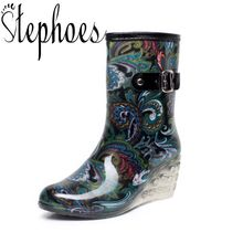 cbfedae6f237 Stephoes New Women Fashion High Heel Wedges Short Rain Boots Floral  Waterproof Mid-Calf Rainboots