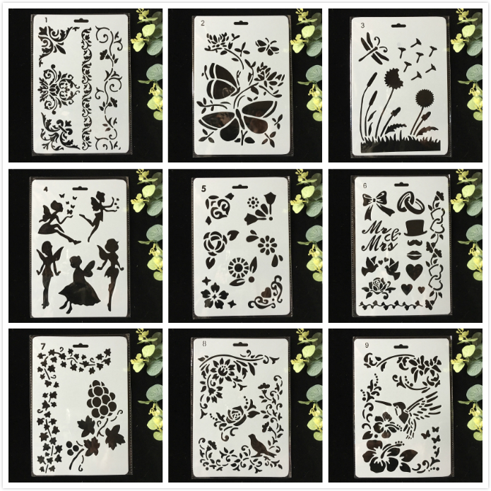 9Pcs/Pack 27cm Butterfly Fairy Flower DIY Layering Stencils Wall Painting Scrapbook Coloring Embossing Album Decorative Template