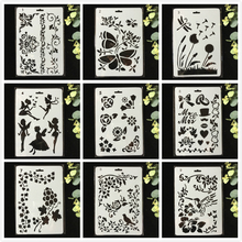 Buy 9Pcs/Pack 27cm Butterfly Fairy Flower DIY Layering Stencils Wall Painting Scrapbook Coloring Embossing Album Decorative Template directly from merchant!
