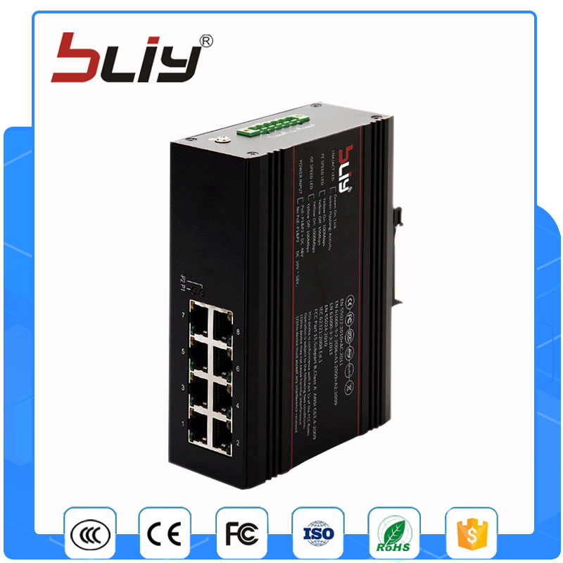8GT hot sell 8 full gigabit port industrial ethernet switch 10/100/1000M fiber switch industrial ethernet switch for eds 205a 5 port well tested working