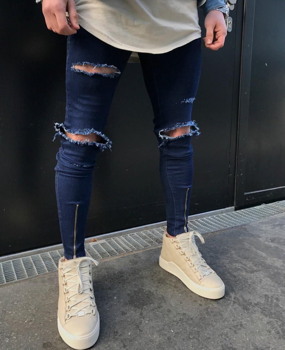 a33f8c177495 2018 Hot Sale Knee hole Ripped Men's Skinny jeans Hip Hop Bottom Zipper  Stretch Denim Punk Rap Pants biker motorcycle men jeans-in Jeans from Men's  Clothing ...