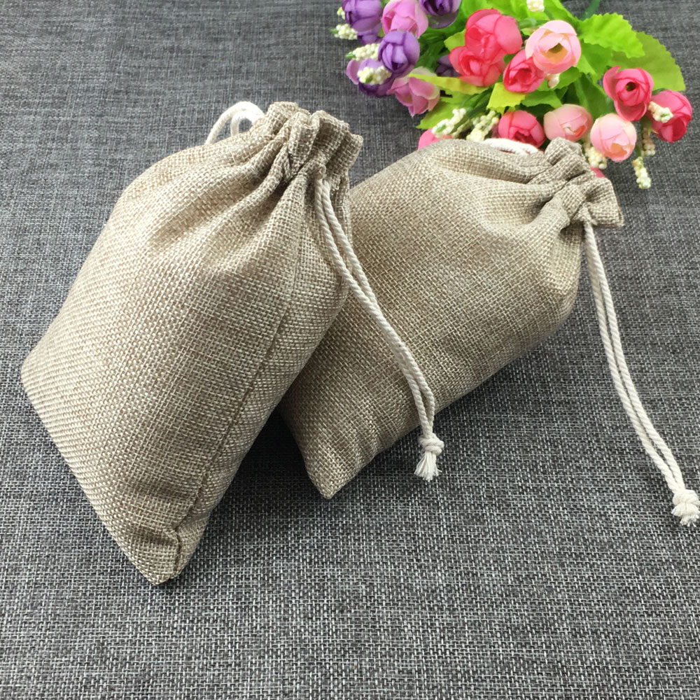 50pcs fashion natural gifts jute bag Cotton thread Drawstring bags jewelry Packaging Display for Wedding/Party/Birthday pouch