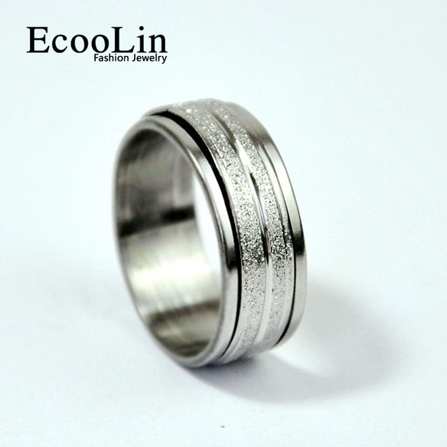 Fashion Women Jewelry Frosted Rotation Stainless Steel Ring For Women and Men Do
