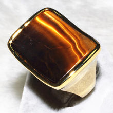 Tiger's eye ring the concave design with Gold-color plated ring holder Special gift ALW1842(China)