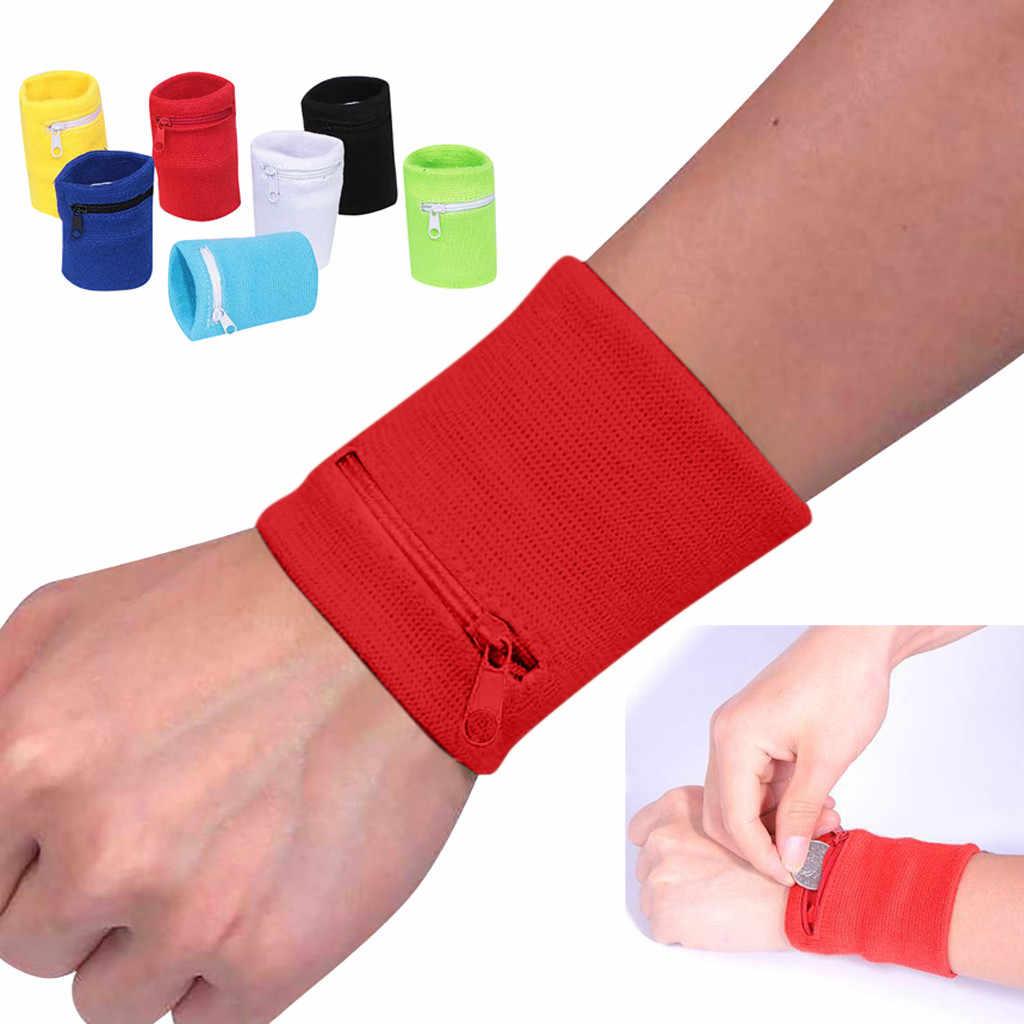 1 PC Pergelangan Tangan Dompet 8X8 Cm Hitam Merah Pergelangan Tangan Dompet Pouch Band Zipper Menjalankan Perjalanan Gym Bersepeda Aman olahraga Tas dengan Fungsi Penyimpanan