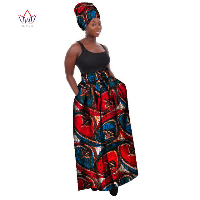 07573ce23b228 African Clothes for Women Long African Print Skirt Maxi Skirts Ankle-Length Skirt  Plus Size Women Clothing 6XL BRW WY268