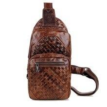 Fashion coffee genuine leather bag chest pack knitting men messenger bags vintage cowhide shoulder bag bolsa masculina #MD-J7250