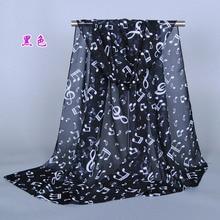 Женский музыкальный символ принта, шарф/шали, шифон, шелк, шали, длинный платок, хиджаб с цветочным узором, простые весенне-зимние шарфы/шали XQ110