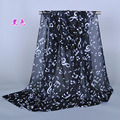 Ladies printe music symbol scarf/shawls chiffon silk scrawl long head flower hijab plain spring winter scarves/shawls XQ110