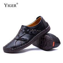 YIGER New Casual shoes men Genuine Leather loafers Handmade soft sole Lazy Fashion Spring Leisure  0240