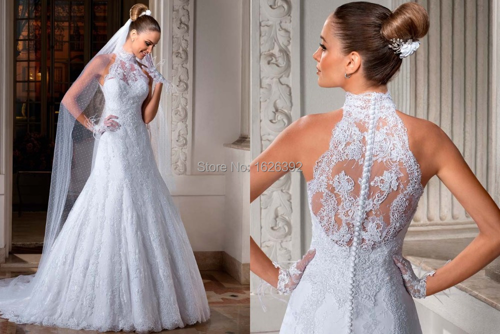 Unique Brazil Designer Wedding Dresses High Neck Lace See