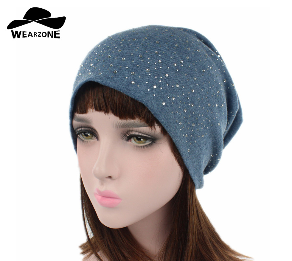 e8b9a513bb1 Women Flashing Rhinestone Bonnet Spring Glitter Knitted Winter Cap Solid  Color Skullies Slouchy Beanie Hats Bonnet Womens Hat-in Skullies   Beanies  from ...