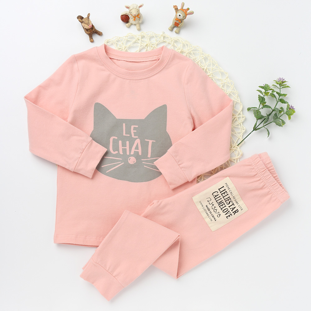 New Casual Pajamas Sets For Girls And boys Cotton Clothing Suits Character Sleepwear Children Long Sleeve T shirts Kids Trousers