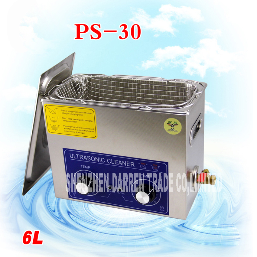 1PC AC110/220v 180W Ultrasonic cleaner 6L 40KHZ  Industry Heated Ultrasonic Cleaner Heater Timer Cleaner Machine derui auto parts ultrasonic cleaner with timer and heated dr mh30 3l